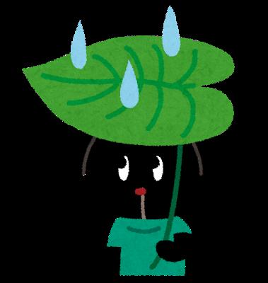 葉っぱの傘を差すウサギ
